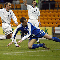 St Johnstone v Ross County..  11.01.03<br />Chris Hay opens the scoring<br /><br />Pic by Graeme Hart<br />Copyright Perthshire Picture Agency<br />Tel: 01738 623350 / 07990 594431