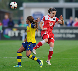 Arsenal Ladies Alex Scott is challenges by Bristol Academy Women's Corinne Yorston - Photo mandatory by-line: Dougie Allward/JMP - Mobile: 07966 386802 - 20/09/2014 - SPORT - FOOTBALL - Bristol - SGS Wise Campus - BAWFC v Arsenal Ladies - FA Womens Super League