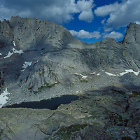 Pingora Peak (r), Wolf's Head (l). Cirque of the Towers. Wind River Wilderness Area, Wyoming.
