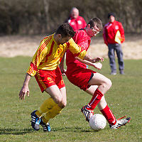Avenue's Utd Shane Browne and Lifford's John Devaney tackle for the ball