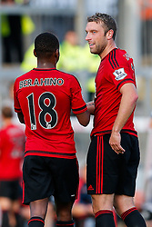 Rickie Lambert of West Brom (r) celebrates with his new teammate Saido Berahino after he scores a goal against his former club having only today completing his transfer from Liverpool - Mandatory byline: Rogan Thomson/JMP - 07966 386802 - 31/07/2015 - FOOTBALL - Memorial Stadium - Bristol, England - Bristol Rovers v West Bromwich Albion - Phil Kite Testimonial Match.