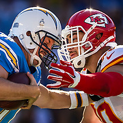 Kansas City Chiefs inside linebacker Josh Mauga (90) sacked San Diego Chargers quarterback Philip Rivers (17) in the first quarter on Sunday, November 22, 2015 at Qualcomm Stadium in San Diego, Calif. The Chiefs won 33-3.