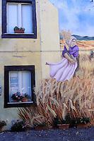 Tinura town, wall painting, Bosa area, Sardinia, Italy