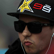 19 August 2012: Moto GP rider Jorge Lorenzo (99) is intense prior to the running of the Red Bull Indianapolis Gran Prix MOTO GP at the Indianapolis Motor Speedway in Indianapolis, IN..