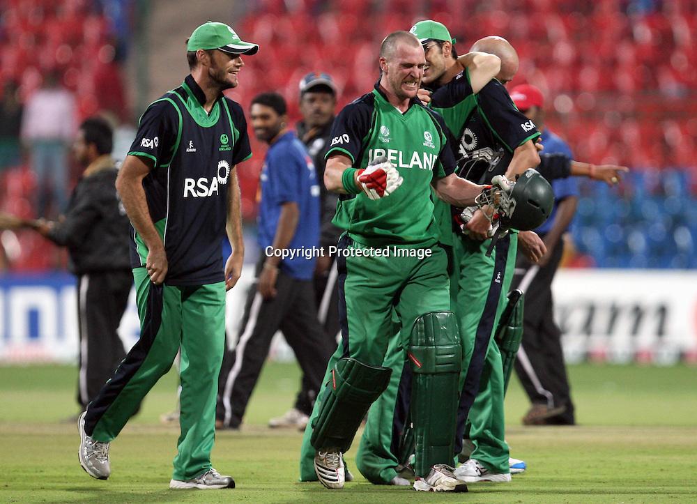 ICC Cricket World Cup 2011 Group B, M.Chinnaswamy Stadium, Bangalore, India 2/3/2011<br />Ireland vs England<br />Ireland's John Mooney celebrates after beating England<br />Mandatory Credit &copy;INPHO/Sportzpics/Aman Sharma *** Local Caption ***