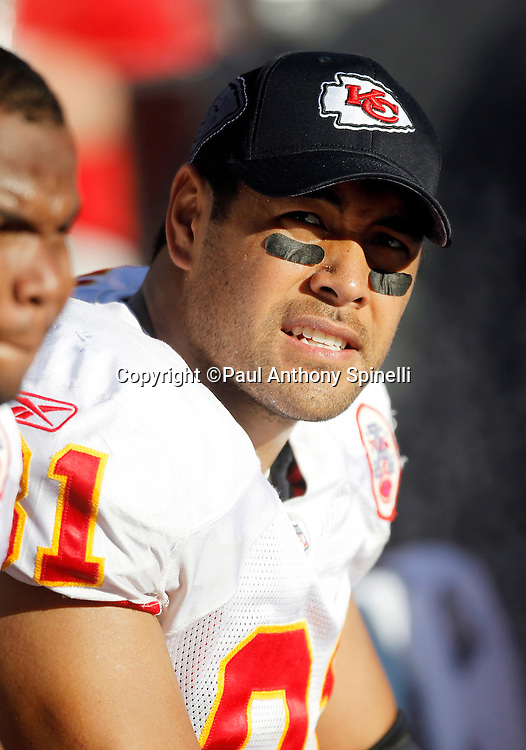 Kansas City Chiefs tight end Tony Moeaki (81) looks on from the bench while wearing a hat during the NFL week 14 football game against the San Diego Chargers on Sunday, December 12, 2010 in San Diego, California. The Chargers won the game 31-0. (©Paul Anthony Spinelli)