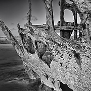 Peter Iredale Shipwreck Bow Close Detail - Sunset - Oregon Coast - HDR - Infrared Black & White