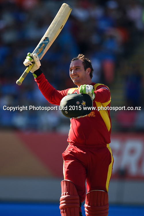 Zimbabwe captain Brendan Taylor celebrates his hundred during the ICC Cricket World Cup match between India and Zimbabwe at Eden Park in Auckland, New Zealand. Saturday 14 March 2015. Copyright Photo: Raghavan Venugopal / www.photosport.co.nz