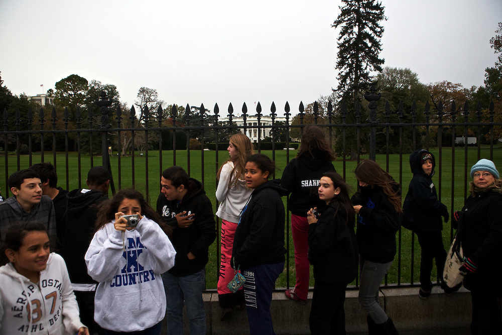 A group of eighth-graders from Port Chester Middle School in Port Chester, NY, get the opportunity during a field trip to visit the White House on Wednesday, Nov. 7, 2012 in Washington, D.C. The students held a mock election on election day where they said Pres. Obama was the overwhelming winner, according to their English Language Arts teacher, Brenda Burke.