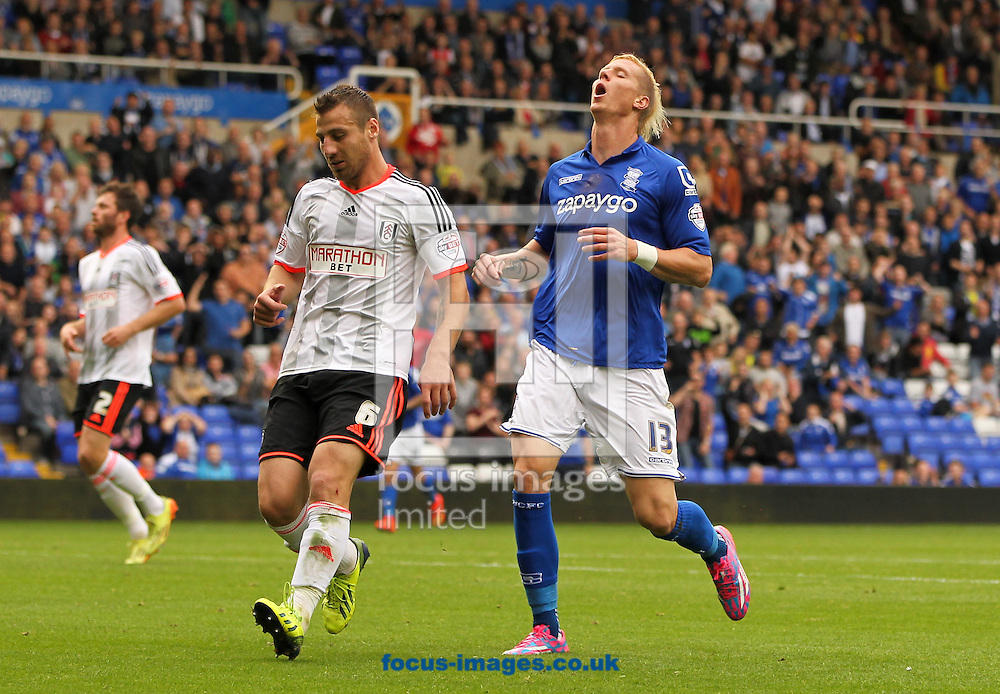 Brek Shea (right) of Birmingham City reacts to missing a good chance to score during the Sky Bet Championship match at St Andrews, Birmingham<br /> Picture by Tom Smith/Focus Images Ltd 07545141164<br /> 27/09/2014