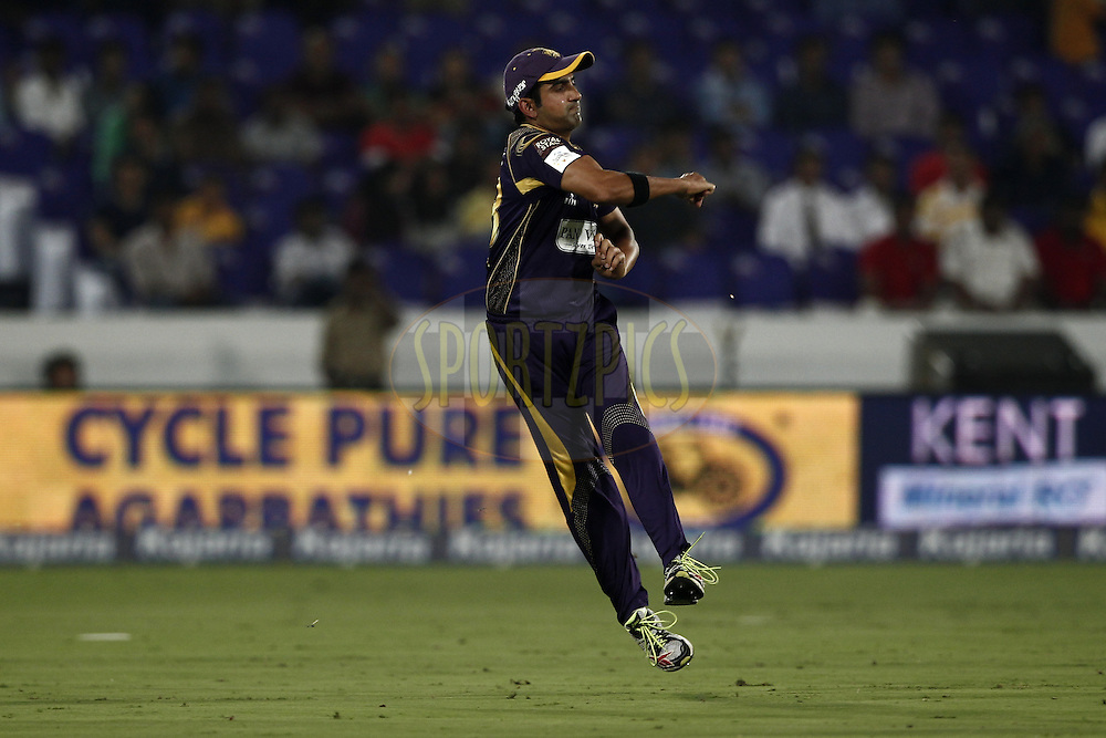 Gautam Gambhir captain of the Kolkata Knight Riders during match 1 of the Oppo Champions League Twenty20 between the Kolkata Knight Riders and the Chennai Superkings held at the Rajiv Gandhi Cricket Stadium, Hyderabad, India on the 17th September 2014<br /> <br /> Photo by:  Deepak Malik / Sportzpics/ CLT20<br /> <br /> <br /> Image use is subject to the terms and conditions as laid out by the BCCI/ CLT20.  The terms and conditions can be downloaded here:<br /> <br /> http://sportzpics.photoshelter.com/gallery/CLT20-Image-Terms-and-Conditions-2014/G0000IfNJn535VPU/C0000QhhKadWcjYs