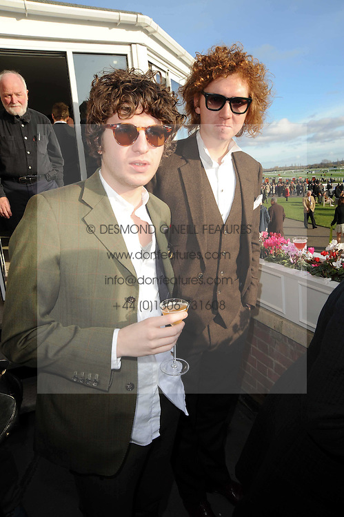Left to right, LUKE PRITCHARD and HUGH HARRIS from The Krooks at the Hennessy Gold Cup 2009 held at Newbury Racecourse, Berkshire on 28th November 2009.