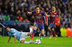 Barcelona Forward Neymar (BRA) is tackled by Man City Defender Gael Clichy (FRA) - Photo mandatory by-line: Rogan Thomson/JMP - Tel: 07966 386802 - 18/02/2014 - SPORT - FOOTBALL - Etihad Stadium, Manchester - Manchester City v Barcelona - UEFA Champions League, Round of 16, First leg.