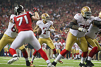 20 January 2013: Quarterback (7) Colin Kaepernick of the San Francisco 49ers passes the ball against the Atlanta Falcons during the second half of the 49ers 28-24 victory over the Falcons in the NFC Championship Game at the Georgia Dome in Atlanta, GA.