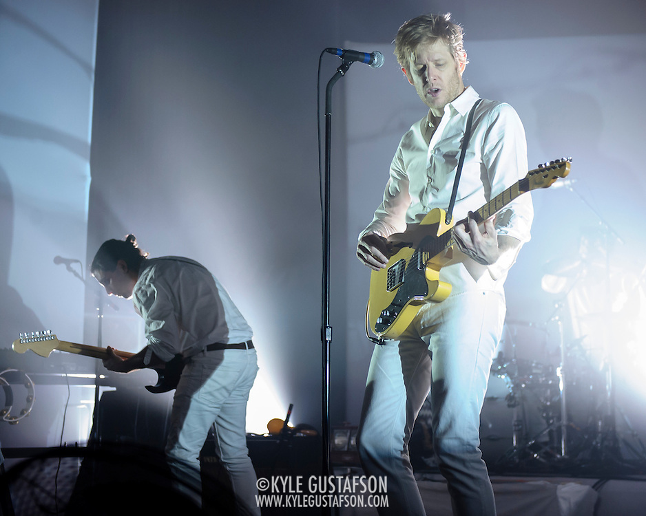 WASHINGTON, DC - September 2nd, 2014 - Alex Fischel  and Britt Daniel of Spoon perform during the first of three sold-out nights at the Lincoln Theatre in Washington, D.C.  The group recently released their eighth album, They Want My Soul. (Photo by Kyle Gustafson / For The Washington Post)