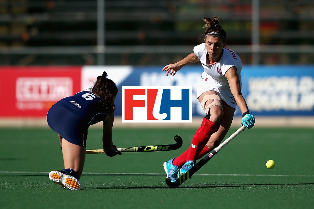 JOHANNESBURG, SOUTH AFRICA - JULY 20: Natalia Wisniewska of Poland and Fernanda Flores of Chile battle for possession during the 9th/10th Place playoff match between Poland and Chile during Day 7 of the FIH Hockey World League - Women's Semi Finals on July 20, 2017 in Johannesburg, South Africa.  (Photo by Jan Kruger/Getty Images for FIH)
