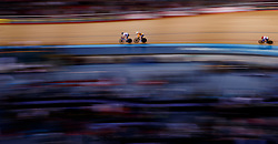 Katie Archibald (left) the eventual winner of the women's scratch race from second placed Lizzie Deigan during Round One of the 2017/18 Revolution Series at Lee Valley Velo Park, London.