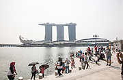 Singapore, tourists at Marina Bay