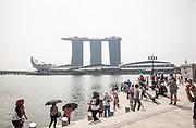 Singapore, tourists at Marina Bay