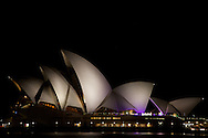 A night-shot of the iconic Sydney Opera House.