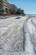 Redington Beach, Pinellas County,  Florida, USA., Monday, 15th October, 2018, Beach Replenishment, Connection between, Black, Sand Delivery Pipes,  © Peter Spurrier