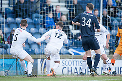 Raith Rovers Dougie Hill scores an own goal for Falkirk's first goal.<br /> Raith Rovers 2 v 4 Falkirk, Scottish Championship game today at Starks Park.<br /> &copy; Michael Schofield.