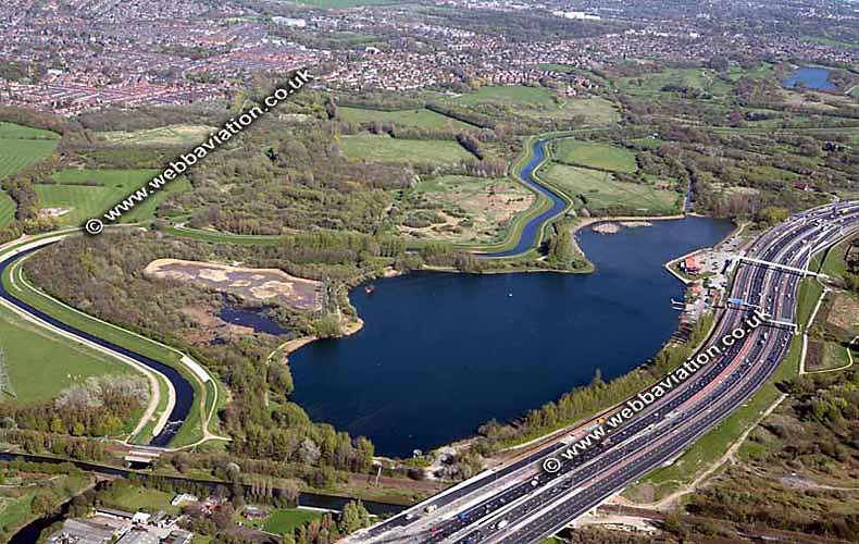aerial photograph of Sale Water Park  Manchester UK