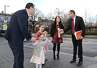 17/02/2016 Galway West Fianna Fail candidate Cllr  John Connolly and his wife Bernadette and their daughters Sadie, Katie and Lauren, meet with Micheal Martin on his arrival at the Hotel Meyrick in Galway on Wednesday to launch the Fianna Faill plan for rural Ireland. Photograph: Andrew Downes