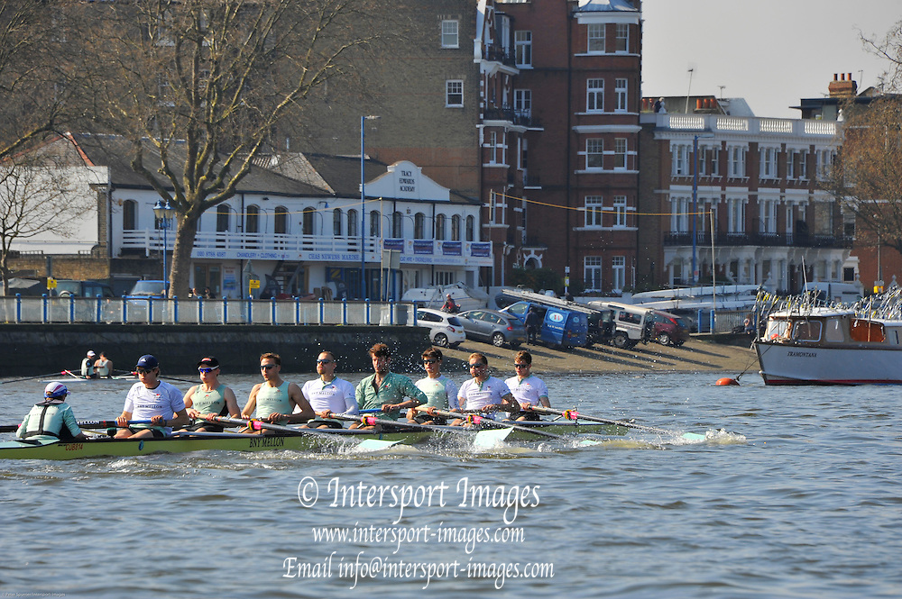 London, UK,  2014 Varsity, Annual Tideway Week. CUBC, Cambridge University Boat Club, Blue Boat, power away from practice start. 09:45:56  Tuesday  01/04/2014  : [Mandatory Credit Intersport Images]<br /> CUBC. Bow. Mike THORP, 2. Luke JUCKETT, 3. Ivo DAWKINS, 4. Steve DUDEK, 5. Helge GRUETJEN, 6. Matthew JACKSON, 7. Joshua HOOPER, Stroke, Henry HOFFSTOT and cox Ian MIDDLETON