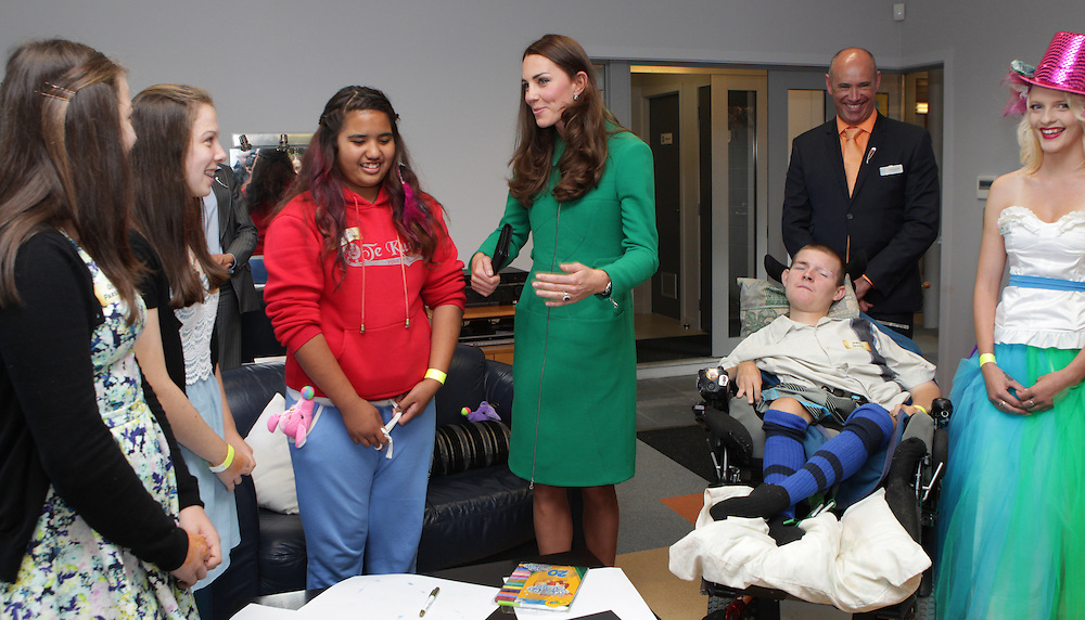 Britain's Catherine, Duchess of Cambridge visits Waikato Hospice Rainbow Place, talks with patients in the Teen room, Hamilton, New Zealand, Saturday, April 12, 2014. Credit:SNPA / Fairfax, Peter Drury  POOL
