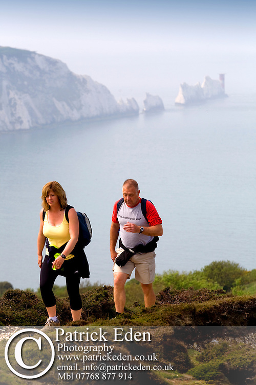 Walkers, Walking Festival, The Needles, Headon Warren, view, Isle of Wight, England, UK, Photographs of the Isle of Wight by photographer Patrick Eden photography photograph canvas canvases