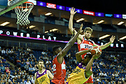 Demonte Flannigan of London Lions under pressure during the Betway British Basketball All-Stars Championship at the O2 Arena, London, United Kingdom on 24 September 2017. Photo by Martin Cole.