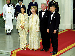 United States President Bill Clinton, right center, and first lady Hillary Rodham Clinton, left center, pose for a formal photo with guests King Mohammed VI , right, and HRH Princess Lalla Meryem, left, of Morocco on the North Portico of the White House in Washington, D.C. as they arrive for a State Dinner in the King's honor at the White House in Washington, DC on June 20, 2000. Photo by Ron Sachs/CNP/ABACAPRESS.COM
