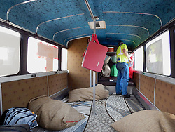 New York artist Mary Mihelic and Philadelphia artist DAVID GLEESEN drove a former Trump-Campaign bus turned art installation to the April 25, 2016 Trump rally. Trump-Supporters and anti-Trump protestors face each other outside a rally of the Republican candidate, held at the campus of West Chester University in West Chester, Pennsylvania a day ahead of the Pennsylvania Primary.
