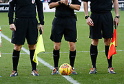 Rainbow laces worn by the officials as part of the Rainbow Laces campaign to promote LGBT inclusivity in football, during the EFL Sky Bet League 1 match between Fleetwood Town and Blackpool at the Highbury Stadium, Fleetwood, England on 25 November 2017. Photo by Paul Thompson.