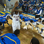12/30/11 Newark DE: Delaware Sophomore Guard #10 Devon Saddler (Middle) leads his team in a pre-game celebration prior to a NCAA basketball game against Temple Friday, Dec. 30, 2011 at the Bob carpenter center in Newark Delaware.<br /> <br /> Sophomore Guard Devon Saddler #10 would finish the game with 18 points and five rebounds Temple (9-3) defeats Delaware (5-6) 66-63