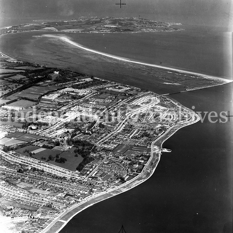 A123 Clontarf. Source E.H. 27/07/51. (Part of the Independent Newspapers Ireland/NLI collection.)<br /> <br /> <br /> These aerial views of Ireland from the Morgan Collection were taken during the mid-1950's, comprising medium and low altitude black-and-white birds-eye views of places and events, many of which were commissioned by clients. From 1951 to 1958 a different aerial picture was published each Friday in the Irish Independent in a series called, 'Views from the Air'.<br /> The photographer was Alexander 'Monkey' Campbell Morgan (1919-1958). Born in London and part of the Royal Artillery Air Corps, on leaving the army he started Aerophotos in Ireland. He was killed when, on business, his plane crashed flying from Shannon.