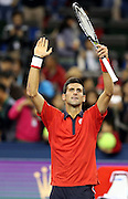 17.10.2015. Shanghai, China.  Novak Djokovic of Serbia celebrates after winning his mens singles semi-final match against Andy Murray of Britain at the Shanghai Masters tennis tournament in Shanghai, east China, October 17, 2015. Novak Djokovic won 2-0.Fan Jun