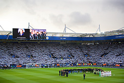 LEICESTER, ENGLAND - Saturday, November 10, 2018: Leicester City and Burnley players and supporters stand for a minute's silence for Armistice Day, and also Leicester City's chairman Vichai Srivaddhanaprabha, who died in a helicopter crash on Oct 27, before the FA Premier League match between Leicester City FC and Burnley FC at the King Power Stadium. (Pic by David Rawcliffe/Propaganda)