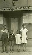 From left, Nesby Holmes, Archie Willis Hood, Ordia Foxhall, Thelma Baskin. Dec. 1, 1927, Birmingham, Ala., Pilgrim Evangelical Lutheran Church