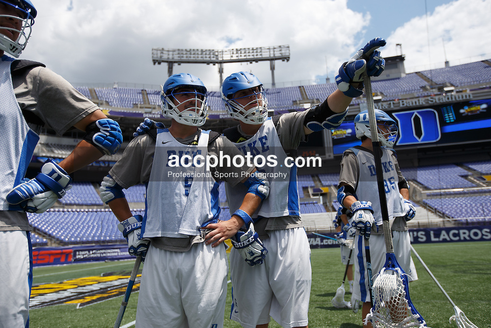 2014 May 23: Tanner Scott #5 and Jack Bruckner #36 of the Duke Blue Devils during practice at M&T Bank Stadium in Baltimore, MD.