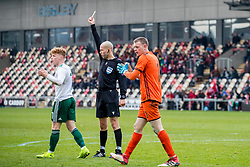 NEWPORT, WALES - Tuesday, November 19, 2019: Wales' Samuel Pearson is shown a yellow card by referee Ville Nevalainen during the UEFA Under-19 Championship Qualifying Group 5 match between Kosovo and Wales at Rodney Parade. (Pic by Paul Greenwood/Propaganda)