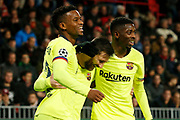 Barcelona player Nelson Semedo (l), Barcelona player Lionel Messi (m) and Barcelona player Ousmane Dembele (r) celebrating the 0-1 during the UEFA Champions League, Group B football match between PSV Eindhoven and FC Barcelona on November 28, 2018 at Philips Stadium in Eindhoven, Netherlands - Photo Thomas Bakker / Pro Shots / ProSportsImages / DPPI