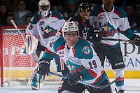 KELOWNA, CANADA - MARCH 24: Dillon Dube #19 of the Kelowna Rockets skates against the Kamloops Blazers on March 24, 2017 at Prospera Place in Kelowna, British Columbia, Canada.  (Photo by Marissa Baecker/Shoot the Breeze)  *** Local Caption ***