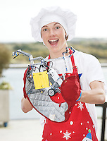 """Gregory Sloggett from St Oliver's Community College dressed as a chef with his """"Too hot to handle """" robot   ready for the  FIRST LEGO League 2012 competition sponsored by SAP in the Radisson blu hotel in Galway. Photo:Andrew Downes."""