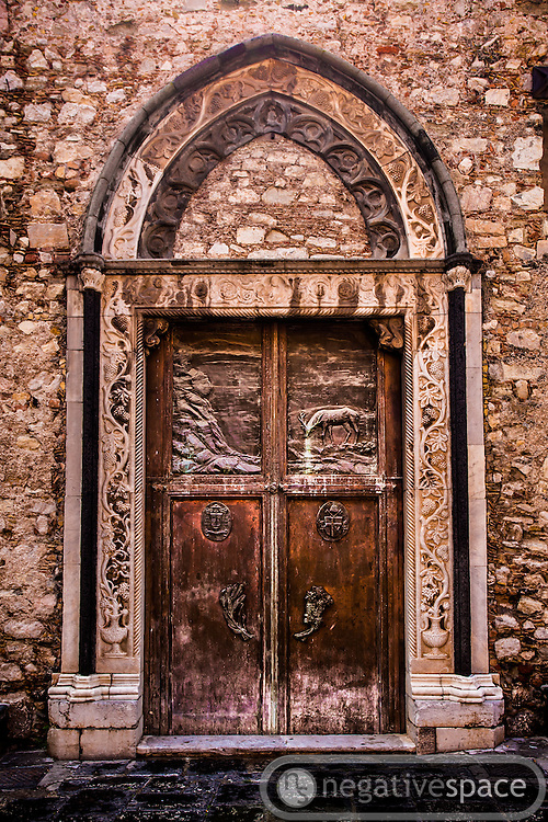 Church doorway, Corso Umberto, Taormina, Sicily, Italy