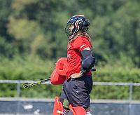 BLOEMENDAAL   - keeper Lauren Logush (Vict) ,  oefenwedstrijd dames Bloemendaal-Victoria, te voorbereiding seizoen 2020-2021.   COPYRIGHT KOEN SUYK