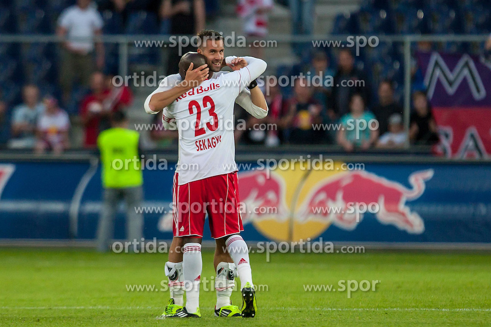 "10.05.2012, Red Bull Arena, Salzburg, AUT, 1. FBL, Red Bull Salzburg vs KSV 1919, 34. Spieltag im Bild Jubel Red Bull Salzburg nach dem Spiel Stefan Maierhofer, (Red Bull Salzburg, #9), Ibrahim Sekagya, (Red Bull Salzburg, #23) // during the Austrian ""Bundesliga"" Match, 34th Round, between FC Red Bull Salzburg and KSV 1919 at the Red Bull Arena, Salzburg, Austria on 2012/05/10. EXPA Pictures © 2012, PhotoCredit: EXPA/ Juergen Feichter"