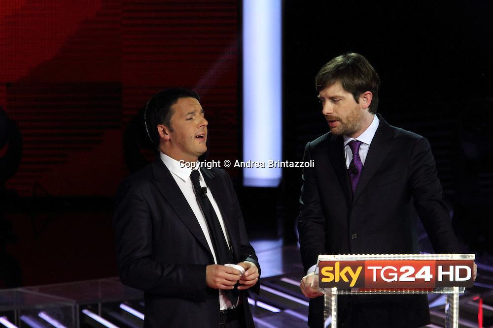 Milano, 29 Novembre 2013. Il confronto tra i candidati PD.<br /> Matteo Renzi, Pippo Civati.