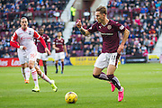 Hearts FC Midfielder Sam Nicholson on the attack during the Ladbrokes Scottish Premiership match between Heart of Midlothian and Ross County at Tynecastle Stadium, Gorgie, Scotland on 24 October 2015. Photo by Craig McAllister.
